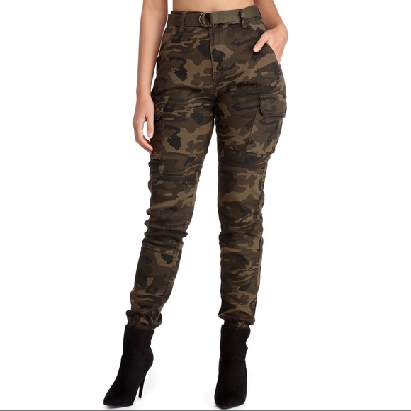 e78425e0614 American Bazi Pants - High-waisted camo pants with belt.
